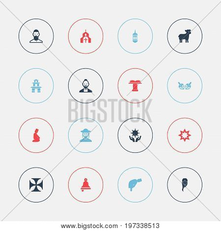 Set Of 16 Editable Religion Icons. Includes Symbols Such As Solar, Sacrifice Sheep, Minaret And More