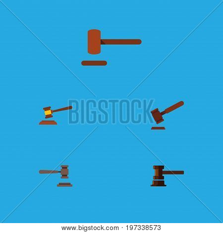 Flat Icon Court Set Of Hammer, Legal, Defense And Other Vector Objects