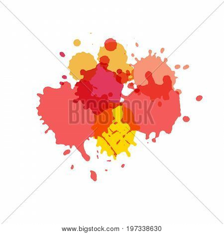 Watercolor splashes. Paint vector splat. Stains grunge texture. Isolated on white background. Pink yellow and red colors