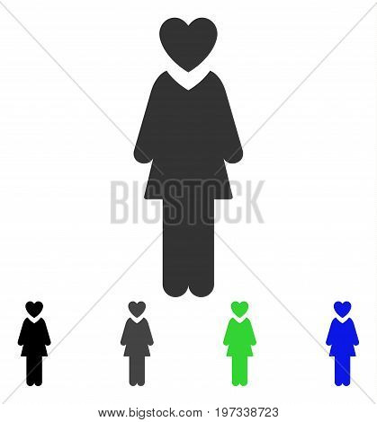 Mistress flat vector icon. Colored mistress gray, black, blue, green icon versions. Flat icon style for application design.
