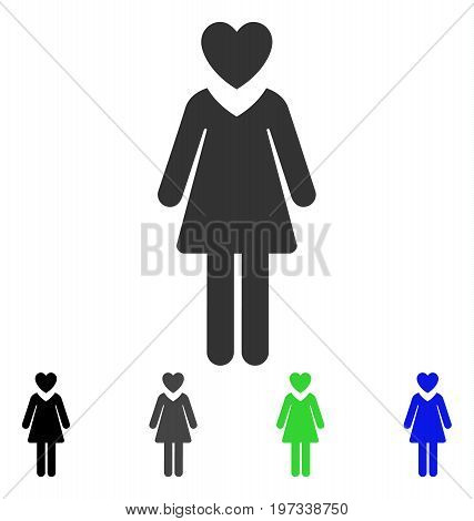 Mistress flat vector illustration. Colored mistress gray, black, blue, green pictogram variants. Flat icon style for graphic design.
