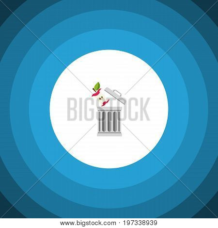 Bin Vector Element Can Be Used For Trash, Bin, Apple Design Concept.  Isolated Trash Flat Icon.