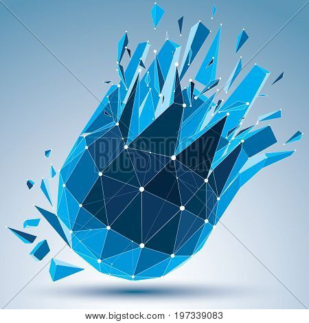 3d vector digital wireframe spherical object broken into different particles and fragments geometric polygonal structure with white lines mesh. Low poly clear blue shattered shape lattice form.