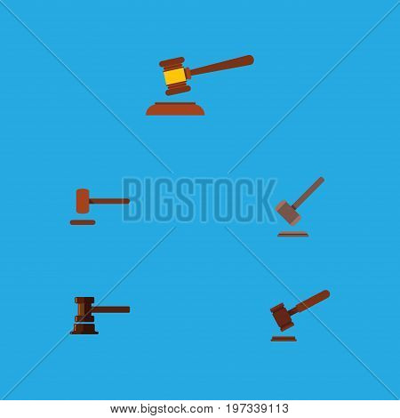 Flat Icon Hammer Set Of Defense, Hammer, Justice And Other Vector Objects