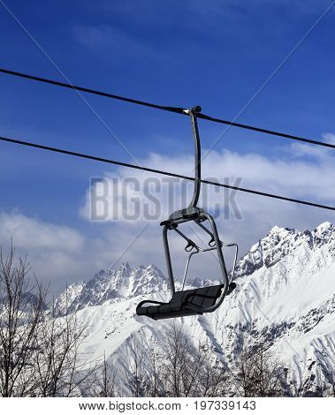 Ski Lift In Snow Winter Mountains At Nice Sun Day