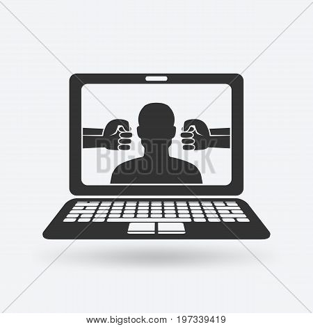 cyberbullying concept. man victim of online harassment. vector illustration - eps 10