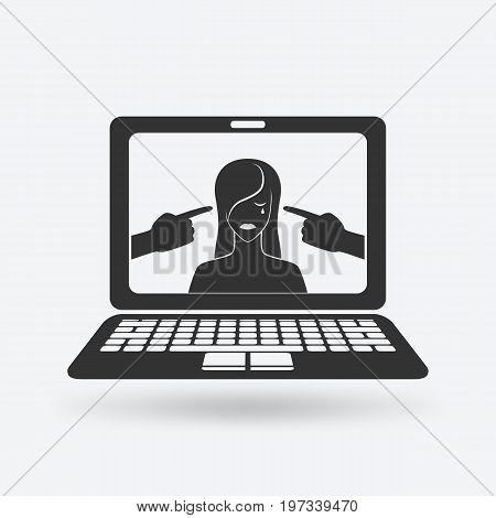 cyberbullying concept. upset girl victim of online harassment. vector illustration - eps 10