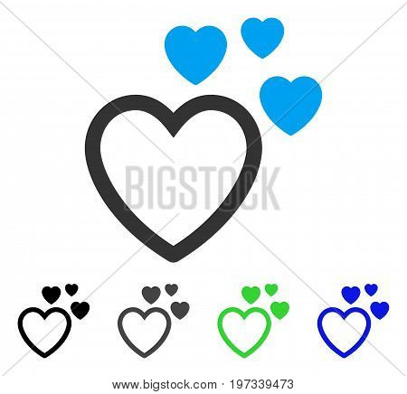 Love Hearts flat vector pictograph. Colored love hearts gray, black, blue, green icon variants. Flat icon style for application design.
