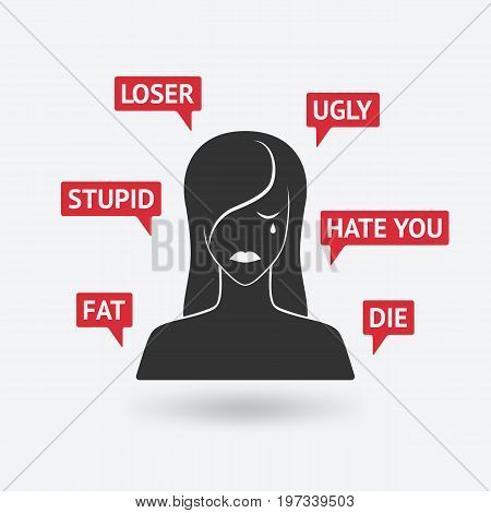 cyberbullying concept. cyberbullying concept. victim upset girl receiving threats online. vector illustration - eps 10