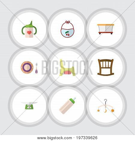 Flat Icon Baby Set Of Nursing Bottle, Children Scales, Pinafore And Other Vector Objects