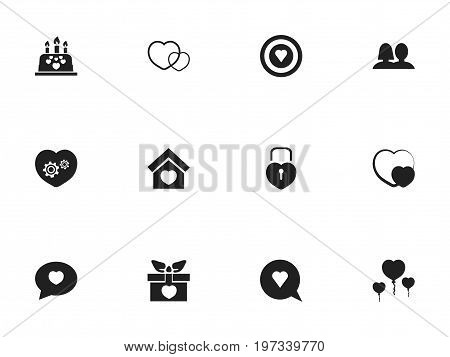 Set Of 12 Editable Love Icons. Includes Symbols Such As Proclamation, Dartboard, Present And More