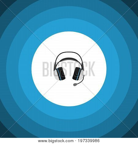Earphone Vector Element Can Be Used For Earphone, Headphone, Headset Design Concept.  Isolated Headphone Flat Icon.