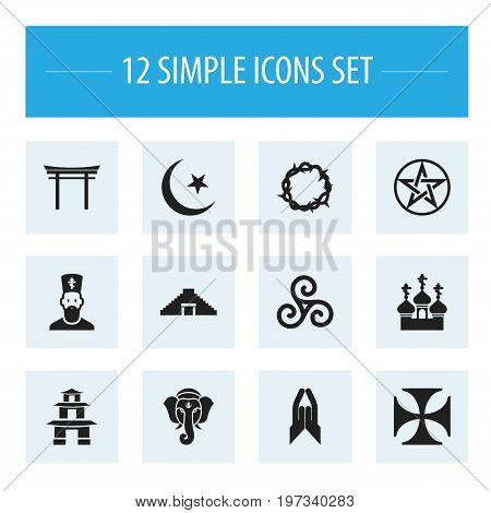 Set Of 12 Editable Religion Icons. Includes Symbols Such As Mandala, Indian Elephant , Religious Sewn