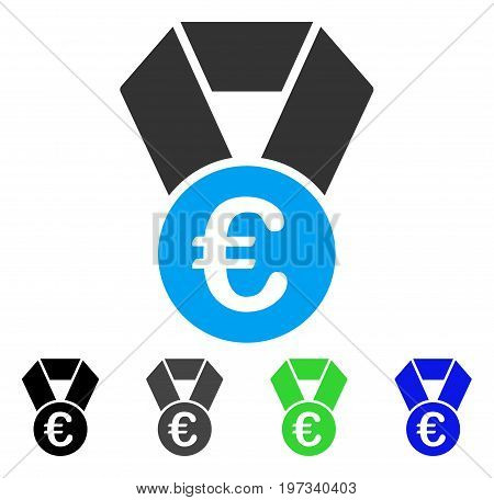 Euro Champion Medal flat vector pictograph. Colored euro champion medal gray, black, blue, green pictogram variants. Flat icon style for web design.