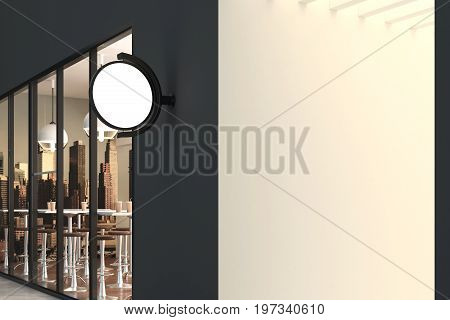 Empty round stopper hanging on cafe building. Advertising concept. Mock up 3D Rendering