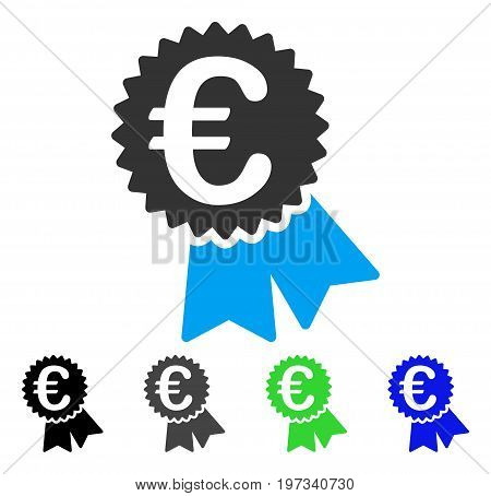 Euro Featured Price Tag flat vector icon. Colored euro featured price tag gray, black, blue, green icon versions. Flat icon style for graphic design.