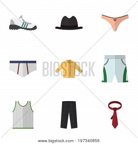 Flat Icon Garment Set Of Panama, Lingerie, Trunks Cloth And Other Vector Objects