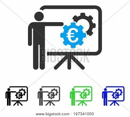 Euro Industrial Project Presentation flat vector icon. Colored euro industrial project presentation gray, black, blue, green pictogram variants. Flat icon style for graphic design.