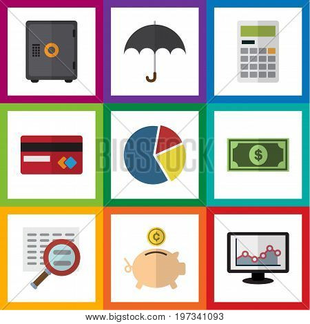 Flat Icon Gain Set Of Calculate, Payment, Chart And Other Vector Objects