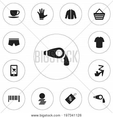 Set Of 12 Editable Trade Icons. Includes Symbols Such As Fingers, Hard Money, Trading Purse And More