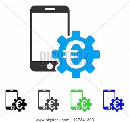 Euro Mobile Bank Configuration flat vector pictograph. Colored euro mobile bank configuration gray, black, blue, green pictogram variants. Flat icon style for web design.
