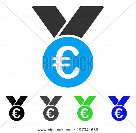 Euro Prize Medal flat vector pictograph. Colored euro prize medal gray, black, blue, green pictogram versions. Flat icon style for graphic design.