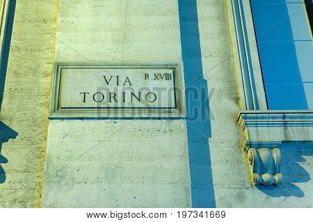 Via Torino Street Sign On Wall In Rome