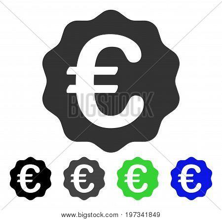 Euro Reward Seal flat vector illustration. Colored euro reward seal gray, black, blue, green icon versions. Flat icon style for application design.