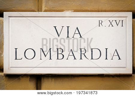 Via Lombardia Street Sign On Wall In Rome