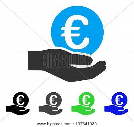 Euro Salary flat vector icon. Colored euro salary gray, black, blue, green pictogram variants. Flat icon style for web design.