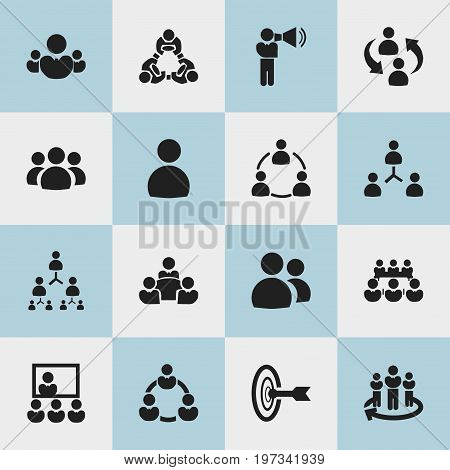 Set Of 16 Editable Team Icons. Includes Symbols Such As Publicity, Team, Hierarchy And More