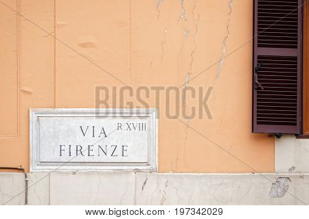 Via Firenze Street Sign On Wall In Rome
