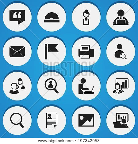 Set Of 16 Editable Bureau Icons. Includes Symbols Such As Workman In Laptop, Loupe, Magnifier And More