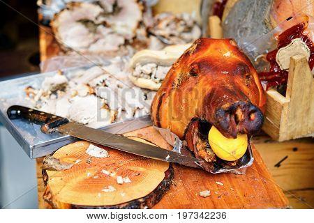 Traditional Italian Pork Cut Into Slices