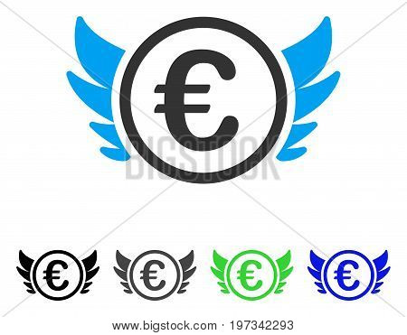 Euro Angel Investment flat vector icon. Colored euro angel investment gray, black, blue, green icon versions. Flat icon style for graphic design.
