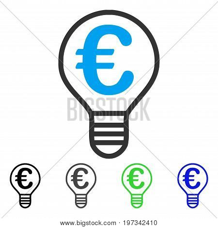 Euro Bulb flat vector illustration. Colored euro bulb gray, black, blue, green icon variants. Flat icon style for web design.