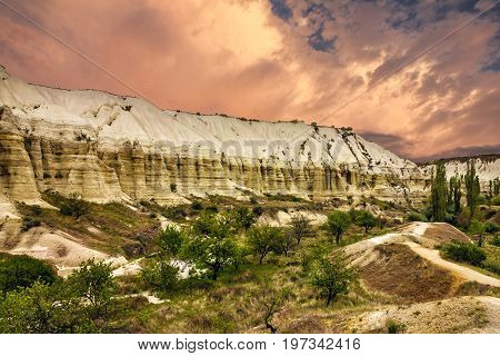 Cappadocia, Anatolia, Turkey. Volcanic mountains in Goreme national park