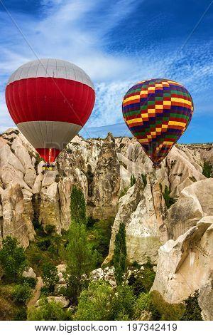 Flying balloons, Cappadocia, Turkey. Goreme national park