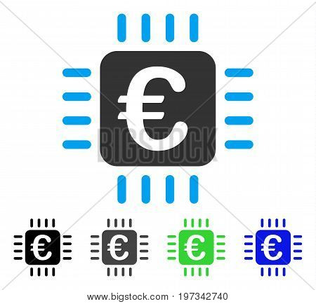 Euro Chip flat vector illustration. Colored euro chip gray, black, blue, green pictogram variants. Flat icon style for web design.