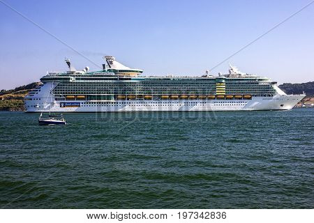 LISBOA, PORTUGAL - MAY 7, 2017: Cruise liner Independence of the seas in Lisboa