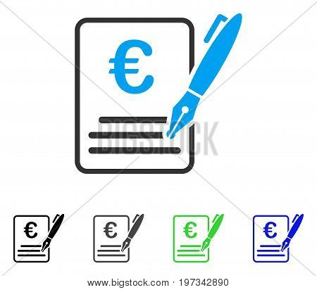 Euro Contract Signature flat vector illustration. Colored euro contract signature gray, black, blue, green pictogram versions. Flat icon style for web design.