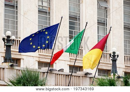 Italian Rome Commune And Eu Flag In Rome