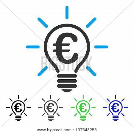 Euro Idea Bulb flat vector pictogram. Colored euro idea bulb gray, black, blue, green pictogram variants. Flat icon style for application design.
