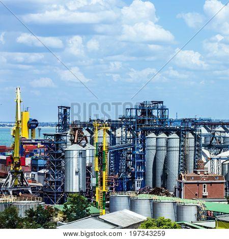 Odessa, Ukraine - May 3, 2017: Industrial zone of Odessa sea port, Ukraine.