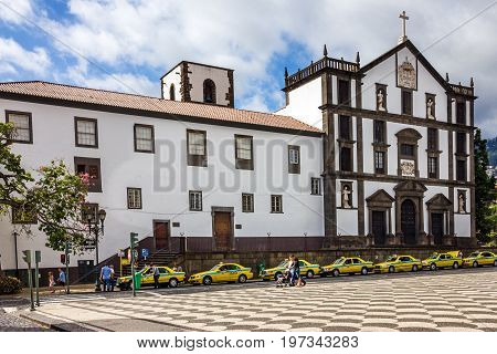 Funchal, Madeira - July 27, 2017: Town Municipality square, Madeira island, Portugal