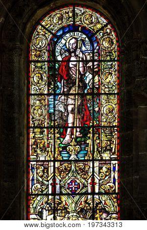 Lisbon, Portugal - July 8, 2017: Vitrage window. Interior of church in Monastery of Jeronimos, Lisbon, Portugal