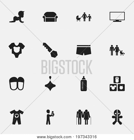 Set Of 16 Editable Folks Icons. Includes Symbols Such As Kid, Home Shoes, Monitor And More