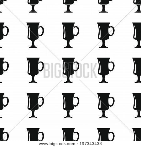 Goblet seamless pattern vector illustration background. Black silhouette goblet stylish texture. Repeating wineglass seamless pattern background for kitchen design and web