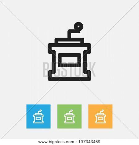 Vector Illustration Of Cooking Symbol On Mocha Grinder Outline