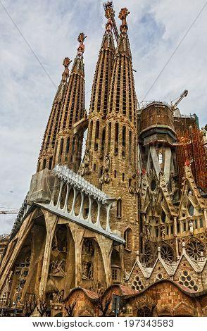 BARCELONA, SPAIN - JUNE 30 2017: Barcelona, Spain. Sagrada Familia Church Gaudi
